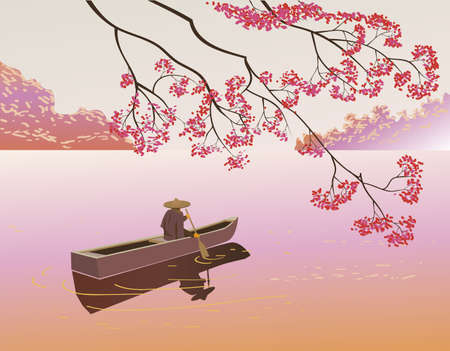 lone: Sakura   A lone boatman, floats on the the lake in the spring