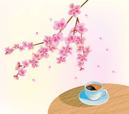 Banner cup of coffee in the morning in spring