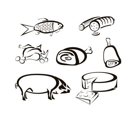 meats: Vector icons of food, meats, cheeses  Illustration