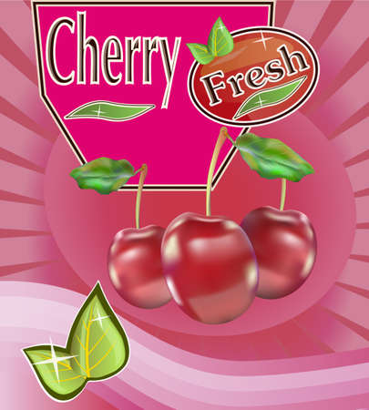 fruited: Fresh cherry juice Banner  Illustration