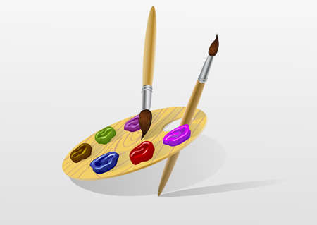 palette with paints and brushes  vector Vector