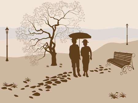 couple embrace: Banner vector ,loneliness, elderly family