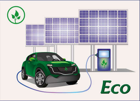 Banner Ecology car , solar panels  Vector