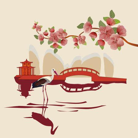 spring in japan: Sakura , landscape east