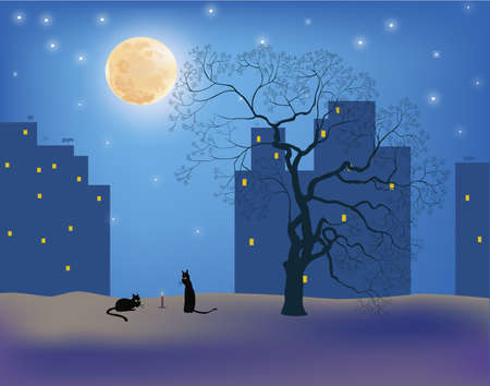Ð¡ats in the moonlight on the roofs of the city Vector
