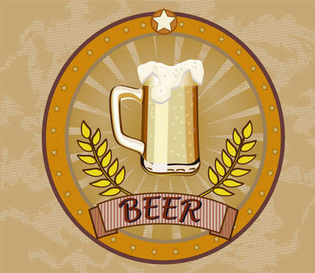 retro banner with glass beer mug  Vector