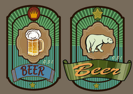 glass goblet with beer and foam ,polar bear  Vector