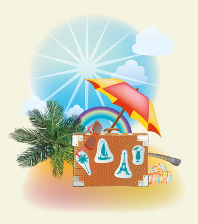 Summer vacation and travel design  Illustration