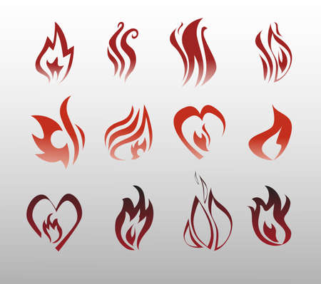 flames of fire:  Icons vector flames, fire