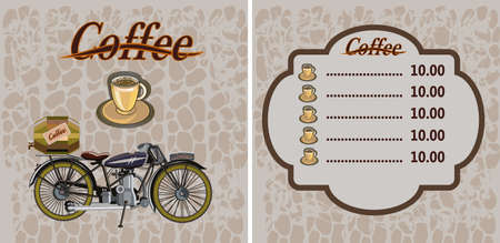 Retro banner with a cup of coffee and motorcycle Illustration