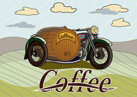 retro banner with a barrel of coffee