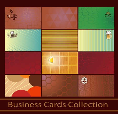 set of business cards on the topic of beer and coffee  Illustration