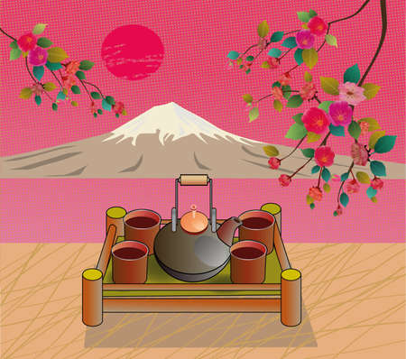 tea ceremony: Sakura   Tea ceremony Menu Illustration