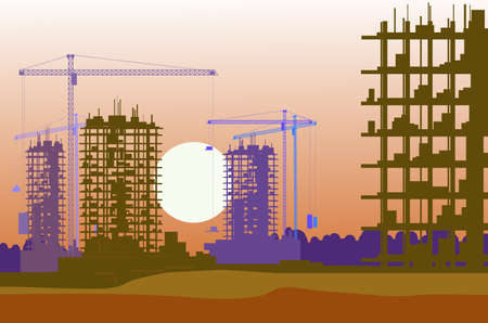 banner of construction site with cranes Illustration
