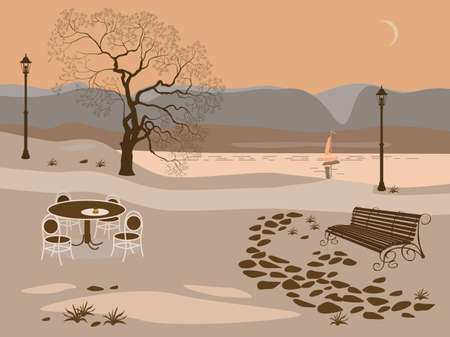 bench alone: Coffee . Evening in the park near the lake Illustration