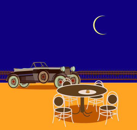 hydrochloric: Evening in the street cafes, retro cars Illustration
