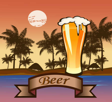 glass goblet with beer and foam . Travel . Vector