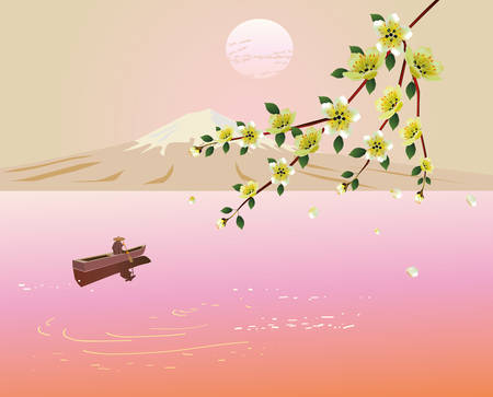 lone: Sakura . A lone boatman, floats on the the lake in the spring.