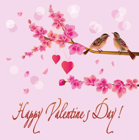 beck: love birds, sakura, spring, Valentine