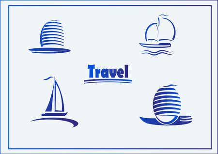 Vector Set of symbols yachts, ships Vector