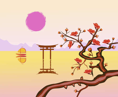east river: sakura .Evening in the garden blooming cherry Illustration