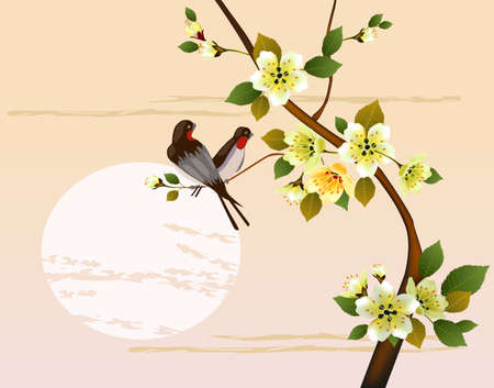 sakura .Evening in the garden blooming cherry Vector