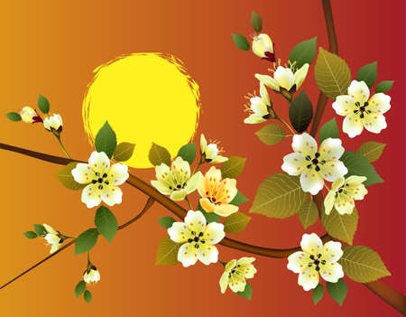 east river: sakura .Evening in the garden blooming cherry and birds Illustration