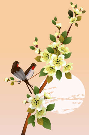 east river: sakura .Evening in the garden blooming cherry and birds Illustration