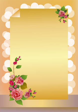 card roses and spring flowers on a yellow background Illustration
