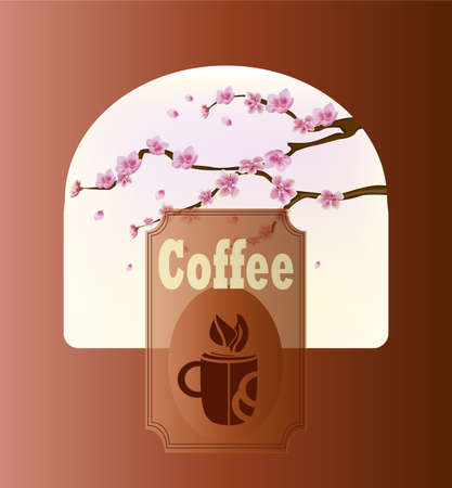 east river: Coffee banner on the background of spring flowers Illustration