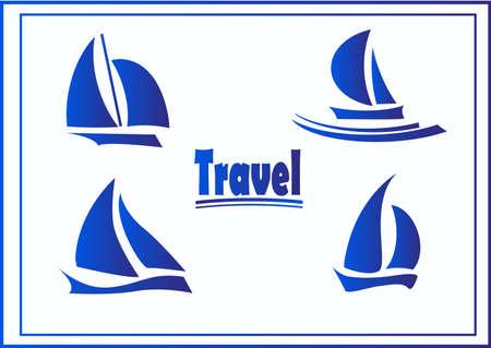 yachts: Set of symbols yachts, ships