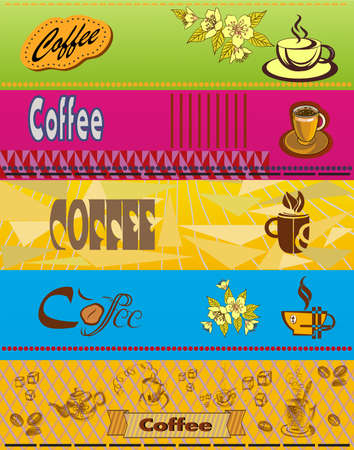 Vector set of business cards on coffee