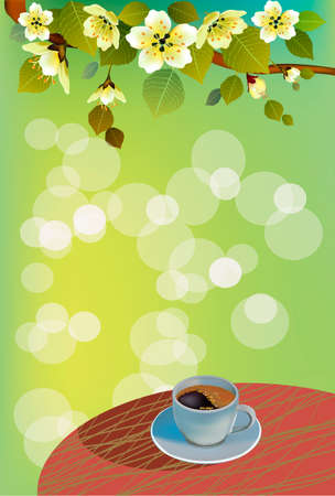 coffee or tea to drink in the summer in the morning. Illustration
