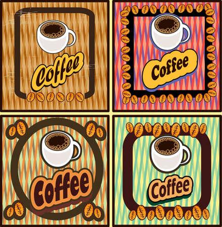 40s: set of coffee for restaurants cafes bars Illustration
