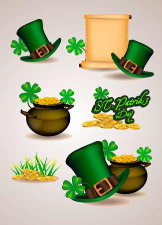 Set of St. Patricks Day symbols. illustration Illustration