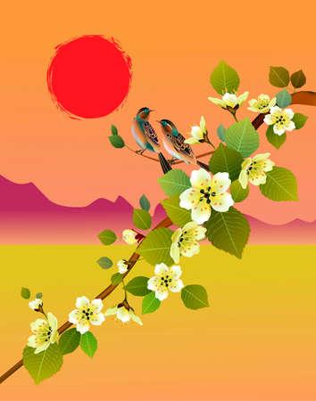 traditionally: Sakura, bird. postcard. Illustration