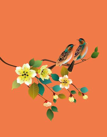 traditionally chinese: Sakura, bird. postcard. Illustration