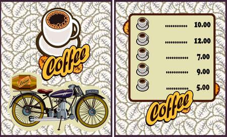 coffee shop illustration design elements vintage vector. Motorcycle Illustration