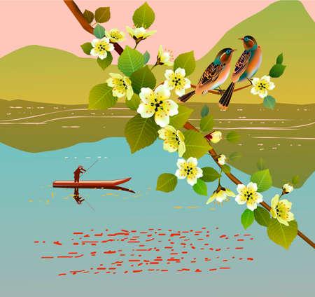 Sakura. A lone boatman, floats on the the lake