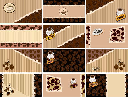 set of business cards on coffee Illustration