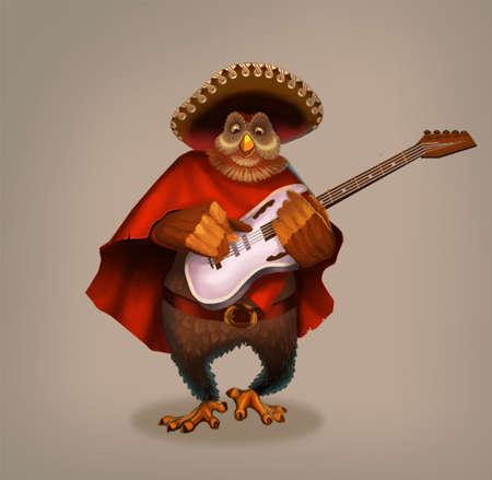 parable: Owl musician. Fabulous character plays electric guitar. Stock Photo