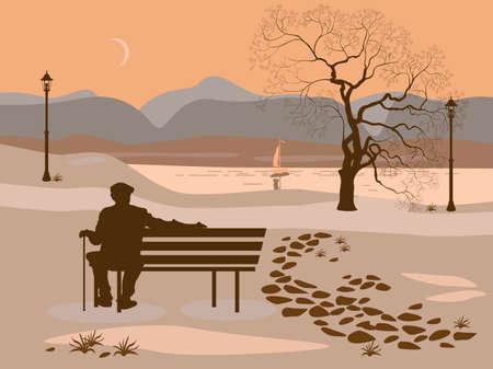 soledad: La soledad, un paseo por el Parque hombre Vectores