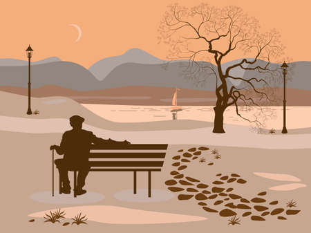 Loneliness, a walk in the park man Illustration