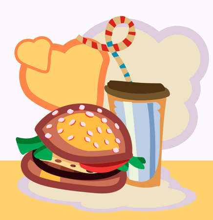 baked potatoes: Vector illustration of Burger drink with