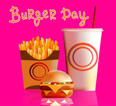 alfalfa: Vector illustration, banner, burger, fries, cola, fast food is the most popular in the world of food Illustration