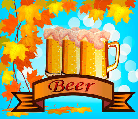 Vector illustration of beer against the backdrop