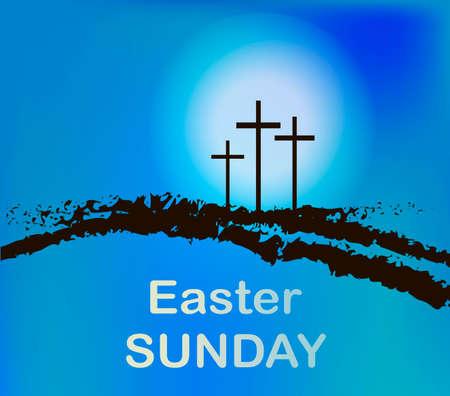 viernes santo: Calvario con tres cruces de montaña con el cielo y el sol. Vectores