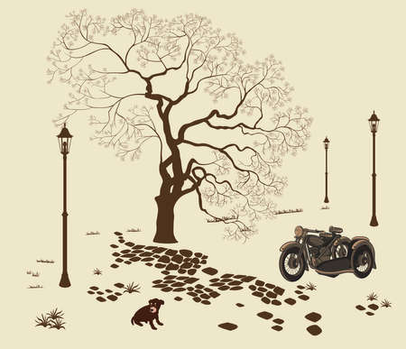 Vector illustration loneliness, dog in the park. Illustration