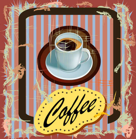 Coffee shop design elements vintage. Illustration