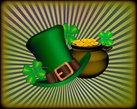 St. Patrick`s Day greeting. Vector illustration. Happy St Patricks Day.Blurred Green Background Illustration